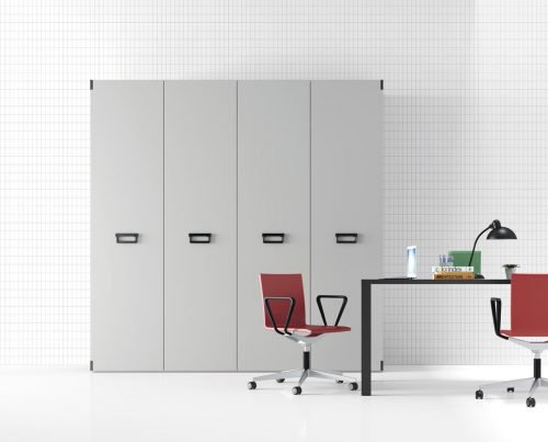 Wardrobe with four hinged doors in colour Humo