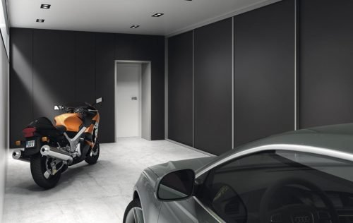 Wardrobe with four doors in colour Vulcano inside the garage of the property
