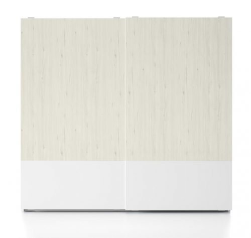Wardrobe with two sliding doors in colours Blanco and Abeto