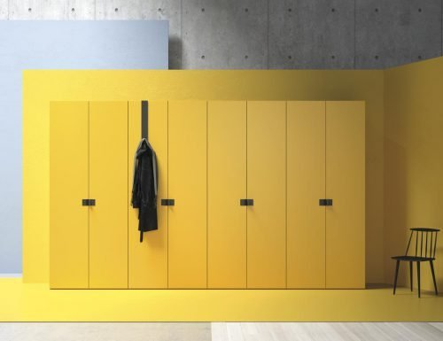 Wardrobe with eight hinged doors in colour Mostaza