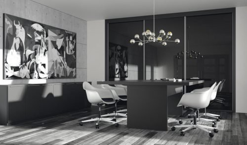 Elegant meeting room with all the furniture in colour Vulcano