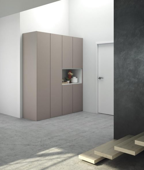 Wardrobe at the entrance in colours Tortora and Blanco