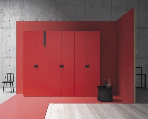Wardrobe with six hinged doors in colour Red