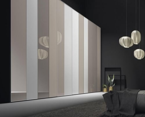 Wardrobe with six hinged doors in colour Tierra