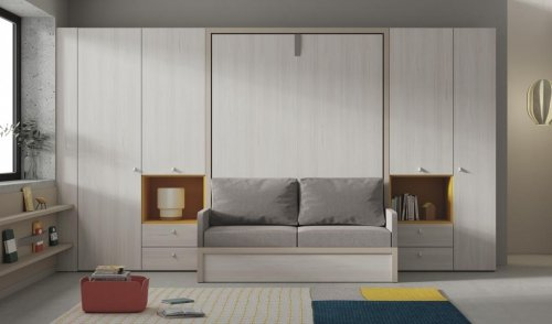 Original bedroom with our 150 vertical wall-bed with sofa and a large wardrobe
