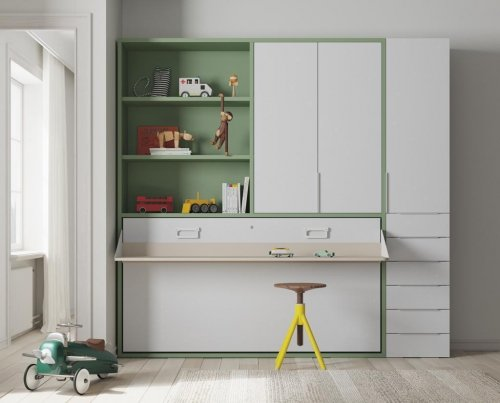 Junior room with a horizontal wall-bed and wardrobe in our Notebook color combination