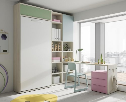 Vertical wall-bed with shelves and a study desk with drawers