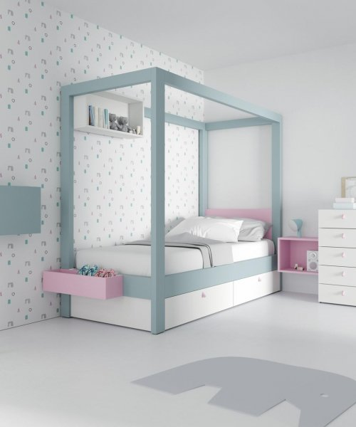 Canopy bed with two large storage drawers beneath it