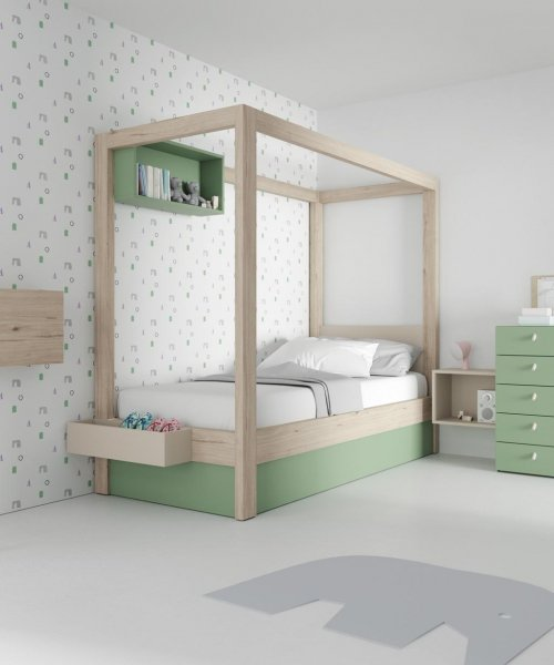 Canopy bed in our colours Veronese and Nórdico
