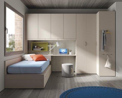 Junior room with a corner wardrobe and study desk