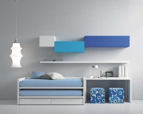 Junior bedroom that combines the colour Blanco and Azul