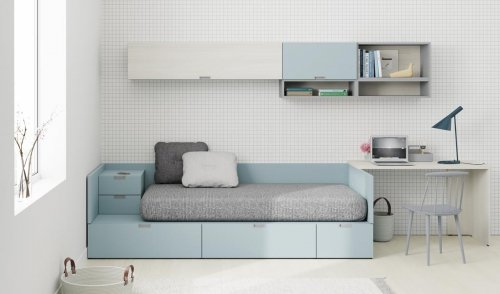 Junior room with a bed and bedside table from our NEST collection