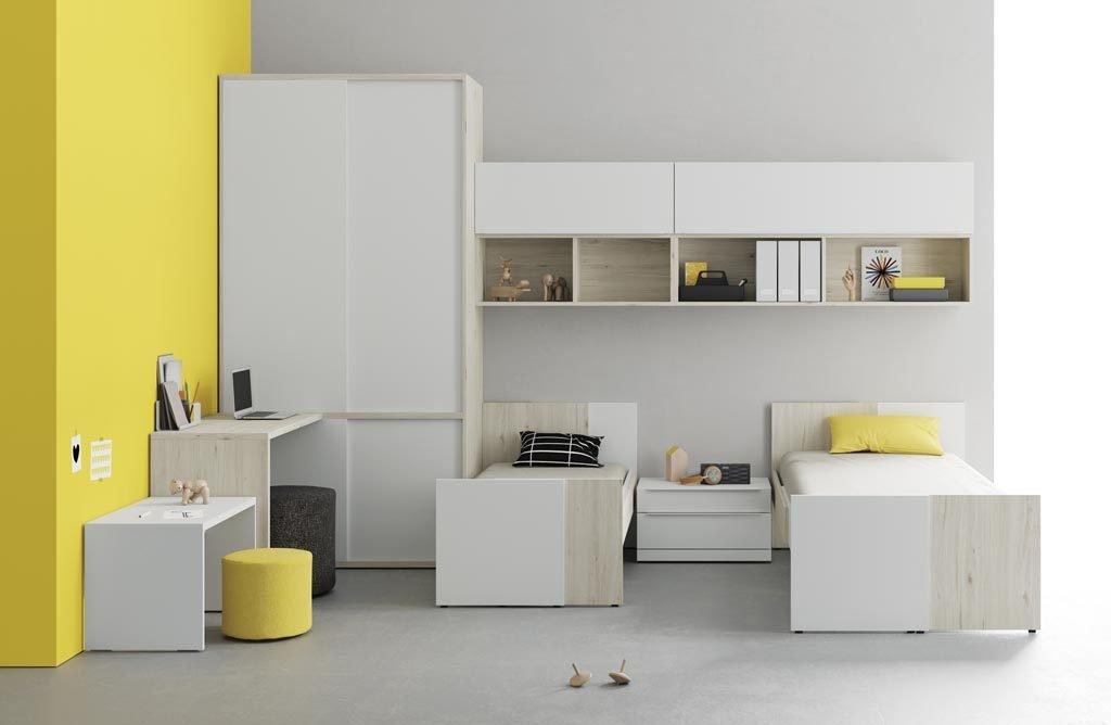 Habitación infantil y juvenil con dos camas adaptables de la colección GROW