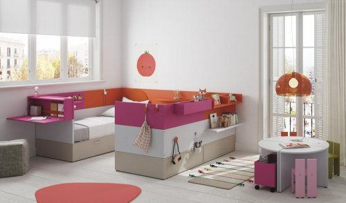 Junior room with two beds from our NEST collection and accessories