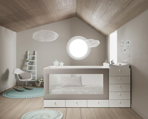Convertible baby cot with an upholstered frame
