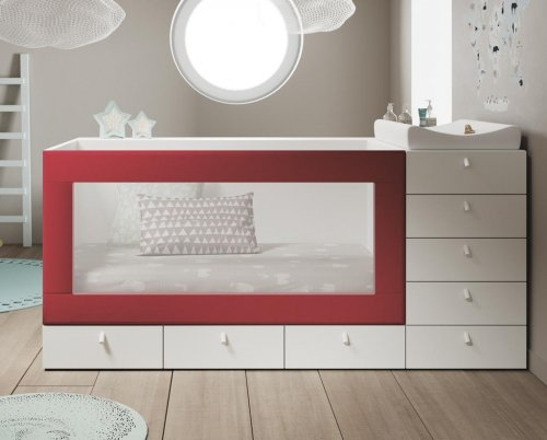 Convertible baby cot with an upholstered frame in colour Carmín