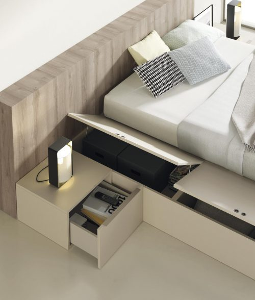 Detail of the Liso headboard that can also be used as a shelf