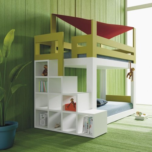 Detail of the shelving unit that doubles up as steps