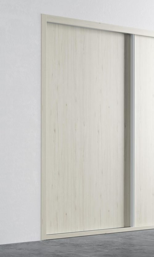 Detail of the sliding door in colour Abeto