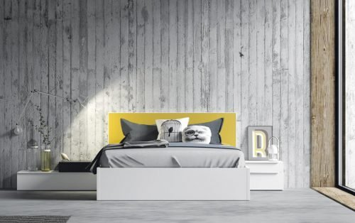 Adult bedroom with a headboard in colour Mostaza
