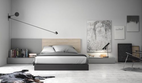 Adult bedroom with headboard in colour Nórdico