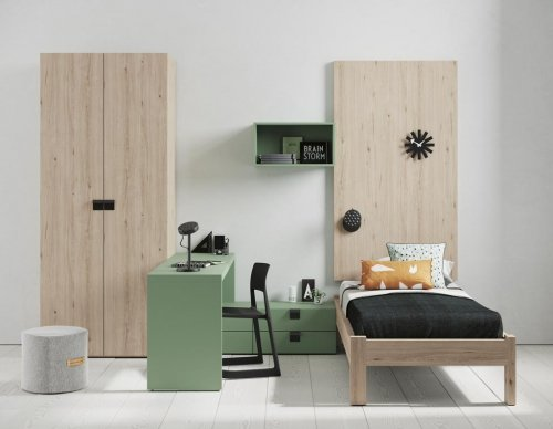 This junior bedroom is composed with a single bed, a wardrobe and a study zone with drawers
