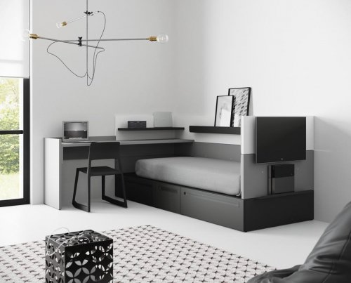 Junior room from our NEST collection with a mix of white, black and grey colours that combine perfectly