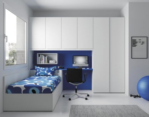 Fresh and light junior room, thanks to the colour combinations of Blanco and Azul