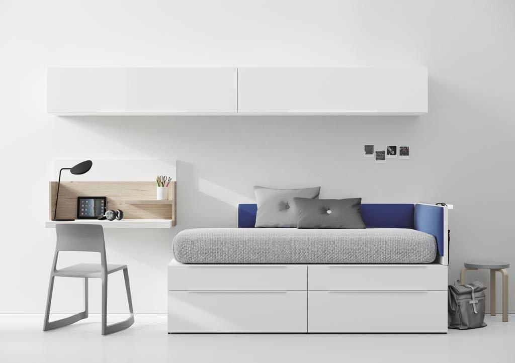 Dormitorio Juvenil minimalista con muebles de la colección NEST