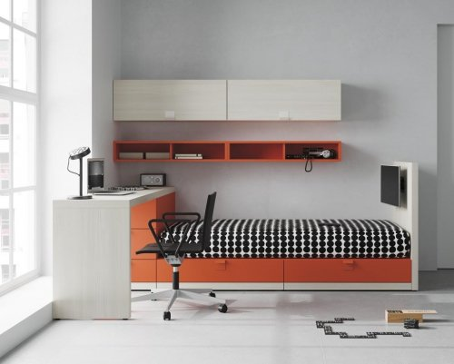 Pull-out bed, study desk, shelves and drawers with a TV incorporated to your bed. Can you ask for more?