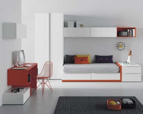 Junior room in colour Blanco with small details in colour Mandarina