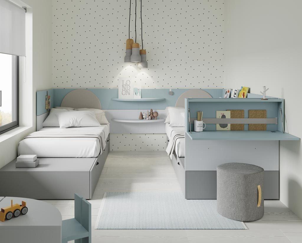 Dormitorios juveniles con dos camas en paralelo de la colección NEST