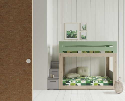Bunk-bed where the steps are made with drawers