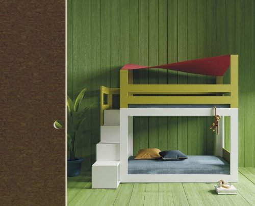 Bunk-bed with canopy and steps that are also shelves