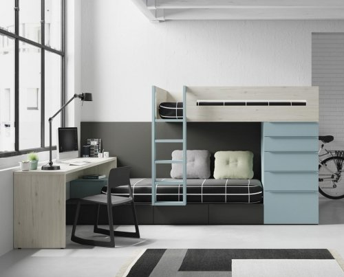 Very complete train bunk-bed with drawers and study desk