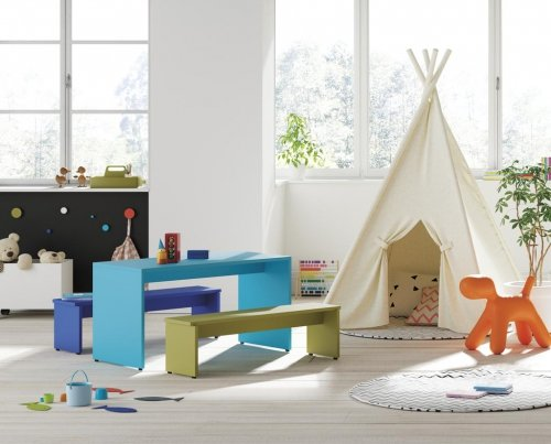 Rectangular kids table with benches from our PUKKA collection