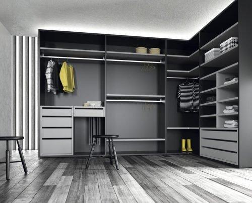 Corner walk-in wardrobe in colour Vulcano and Humo